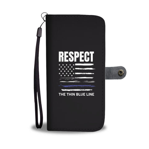 Respect The Thin Blue Line Smartphone Wallet Case - Smartphone Wallet Cases