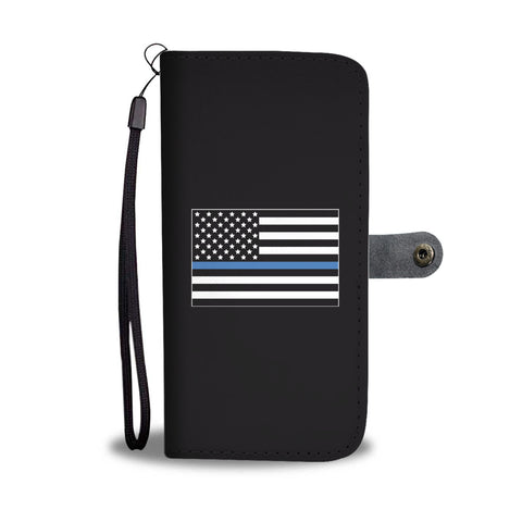 Thin Blue Line American Flag Smartphone Wallet Case - Smartphone Wallet Cases