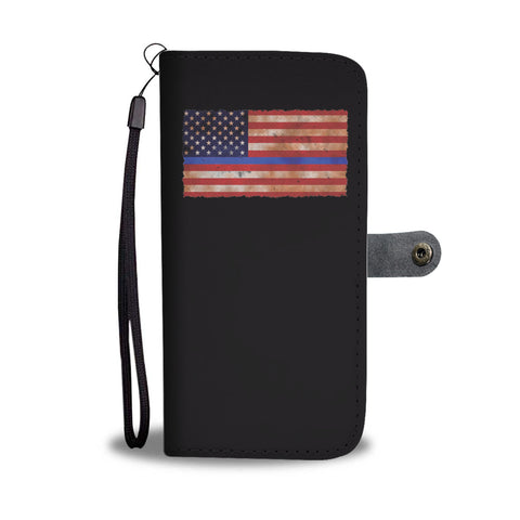 Thin Blue Line Grunge American Flag Smartphone Wallet Case - Smartphone Wallet Cases