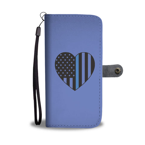 Thin Blue Line Heart Smartphone Wallet Case - Smartphone Wallet Cases