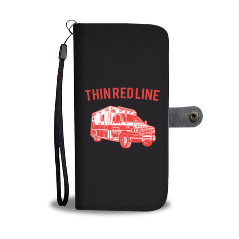 Thin Red Line Ambulance Smartphone Wallet Case - Smartphone Wallet Cases