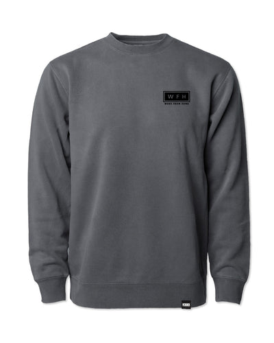 Men's WFH Logo Pigment Dyed Cozy Crew Sweatshirt - WFHLIFE.com#color_pigment-black