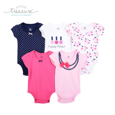 Baby Girl body suits/ Baby Dress (5pcs, Bow Necklace) - Kyemen Baby Online