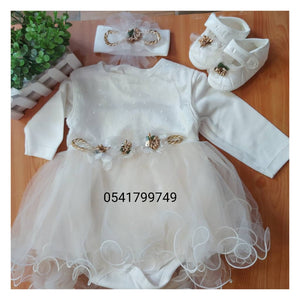 Christening Dress (Girl) 0-6m, White and Brown