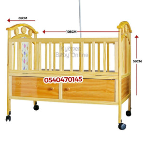 Baby Cot with Mattress (2 in 1 Wooden) 5233