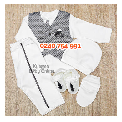 Baby Boy Dress (Boy Christening Dress Set, 0-6m) Gray - Kyemen Baby Online