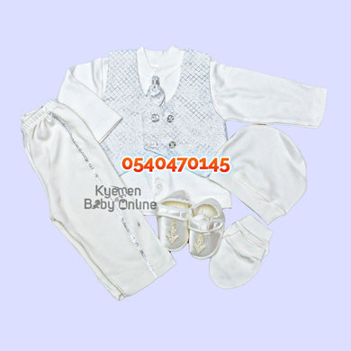 Baby Boy Dress (Boy Christening Dress Set, 0-6m) White & Silver - Kyemen Baby Online