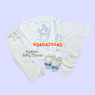 Baby Boy Dress (Boy Christening Dress Set, 0-6m) Light Blue - Kyemen Baby Online