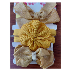 Baby Satin Plain Head Bands 3pcs