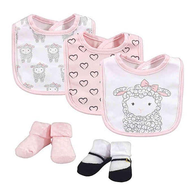 Baby Bib 3pcs With Socks (Little Lamb) - Kyemen Baby Online