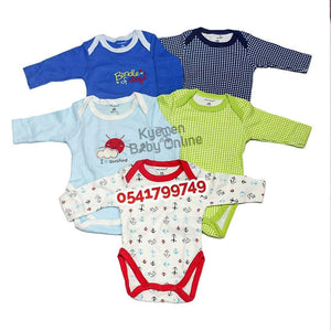 Baby Body Suit, Long Sleeves (5pcs) - Kyemen Baby Online