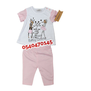 Baby Girl Dress (Pink and White, Jazzy Kids) - Kyemen Baby Online