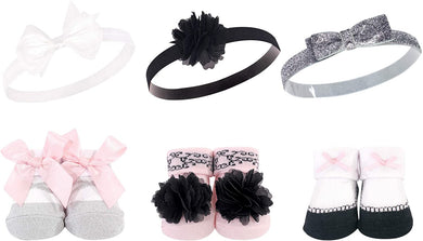 Baby Shoe Socks and 3pcs With Headband (White and Silver Bow)58279 - Kyemen Baby Online