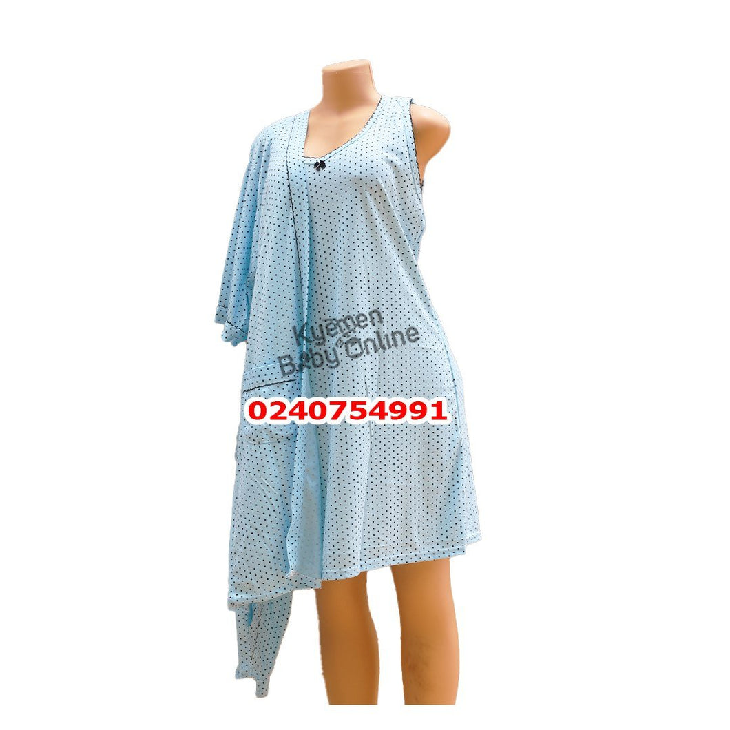 Breastfeeding Night Gown with coat (Dotted, Blue) - Kyemen Baby Online