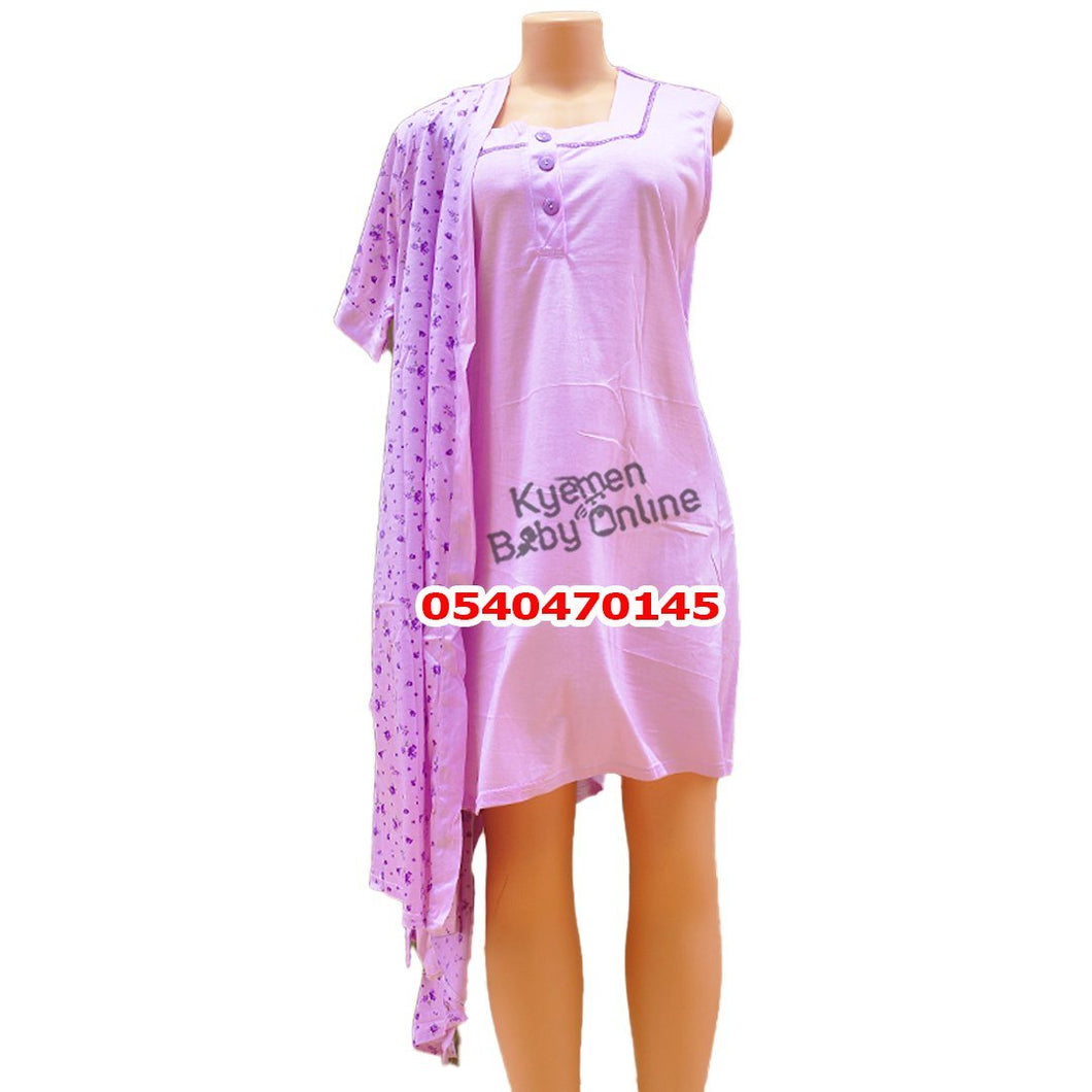 Breastfeeding Night Gown With Coat (Floral Purple) - Kyemen Baby Online