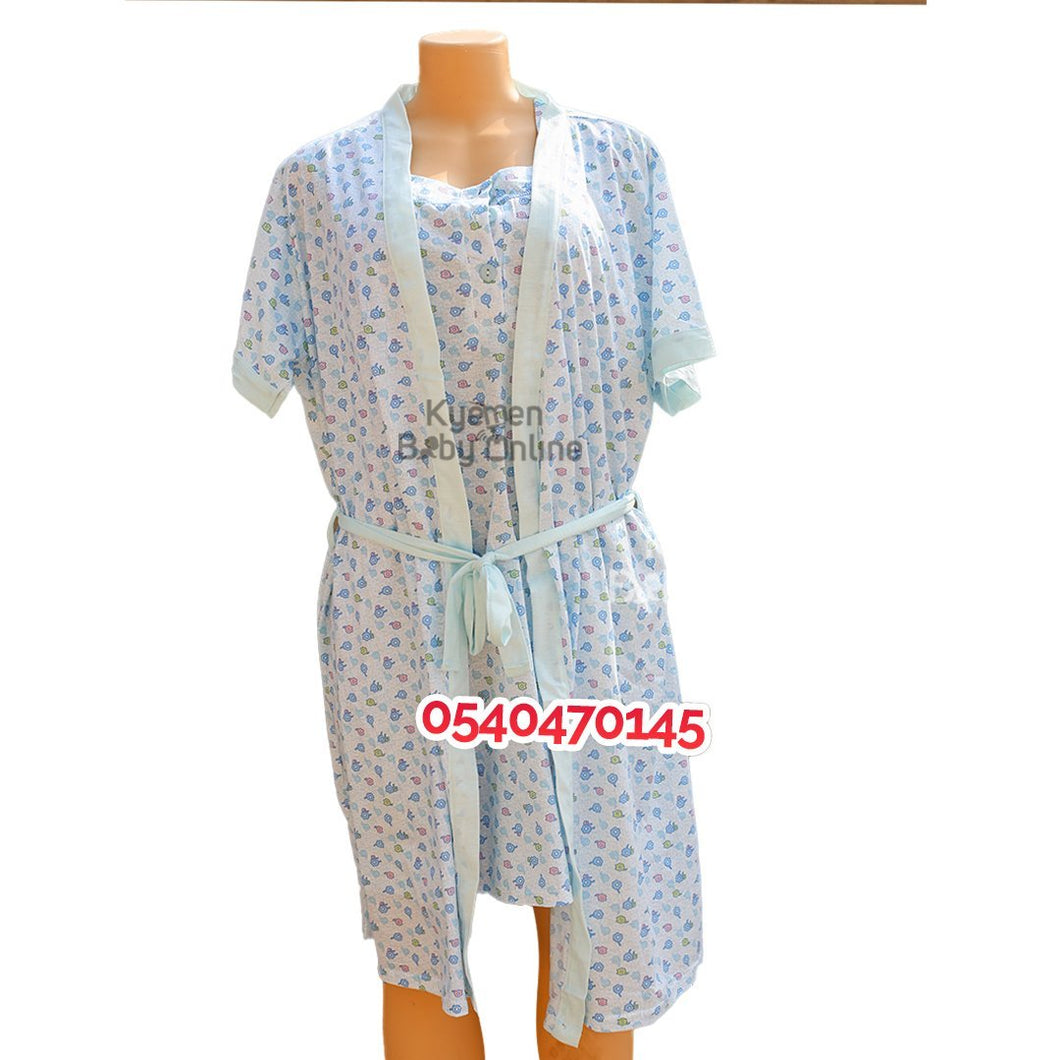 Breastfeeding Night Gown With Coat (Hao, Blue with pink) - Kyemen Baby Online