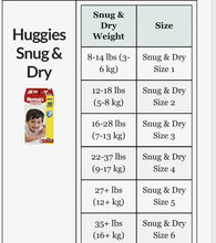 Load image into Gallery viewer, Huggies Snug and Dry Size 1-6 (Box) - Kyemen Baby Online