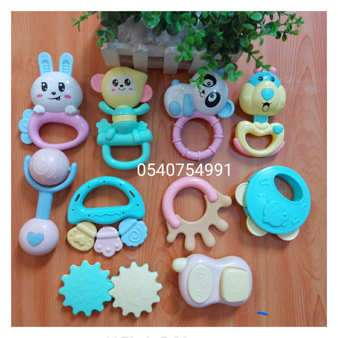 Rattle set with Handbell toys (10pcs) - Kyemen Baby Online
