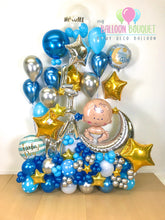 "Load image into Gallery viewer, ""Over the Moon"" Baby Balloon Bouquet"
