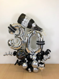 """Black and Silver Salut"" Balloon Bouquet"