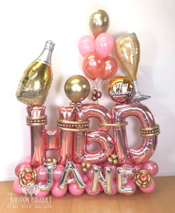 """Pink & Gold Cheers"" Birthday Bouquet"