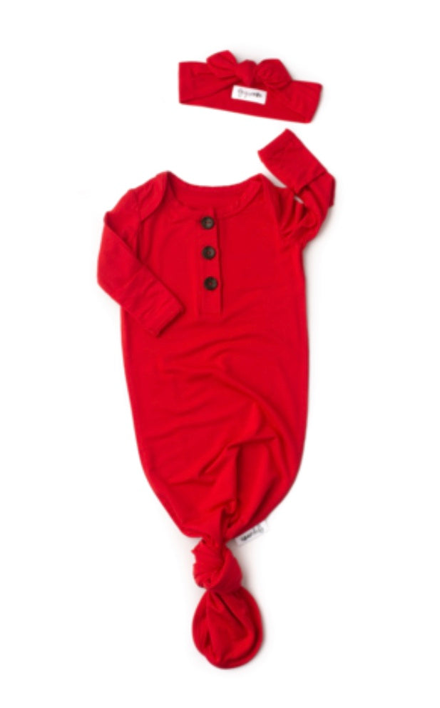 Gigi & Max Red Knotted Gown W/Headband
