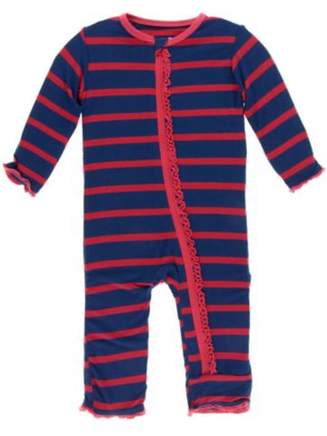 Everyday Heroes Navy Stripe Muffin Ruffle Coverall W/ Zipper