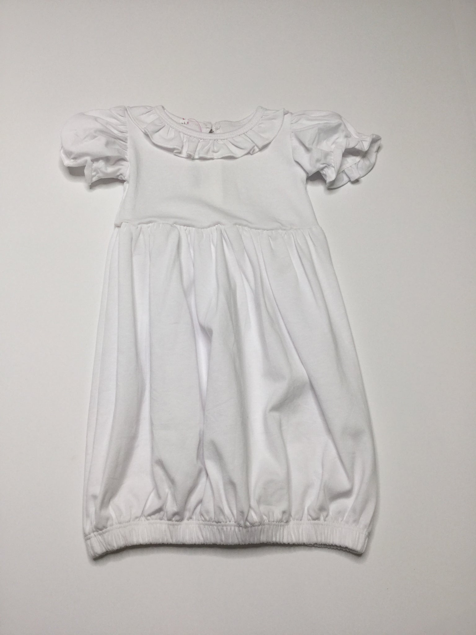 Simple Short Sleeve Ruffle Gown White