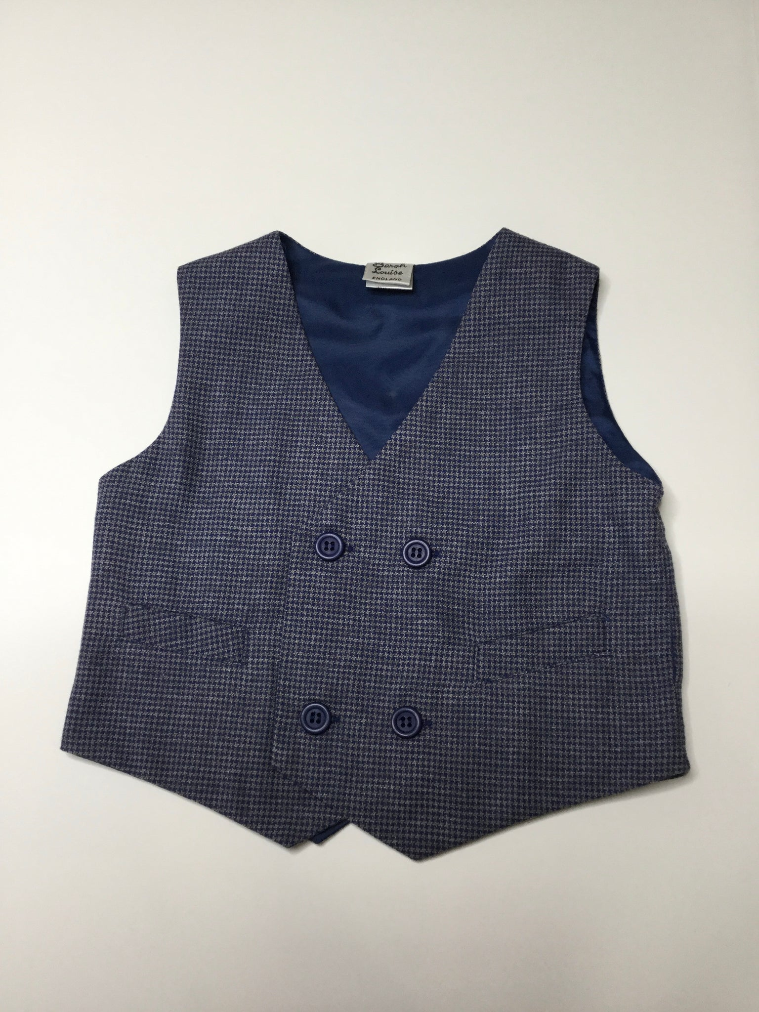 Sarah Louise Navy Tweed Vest boys