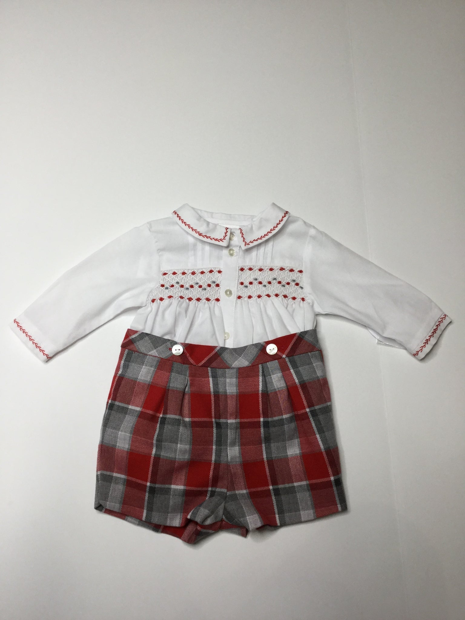 Sarah Louise Plaid Boys Set
