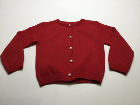 Red Cardigan w/Pearl Buttons