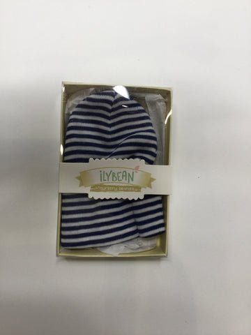 Ilybean Nursery Beanies Navy & White Striped