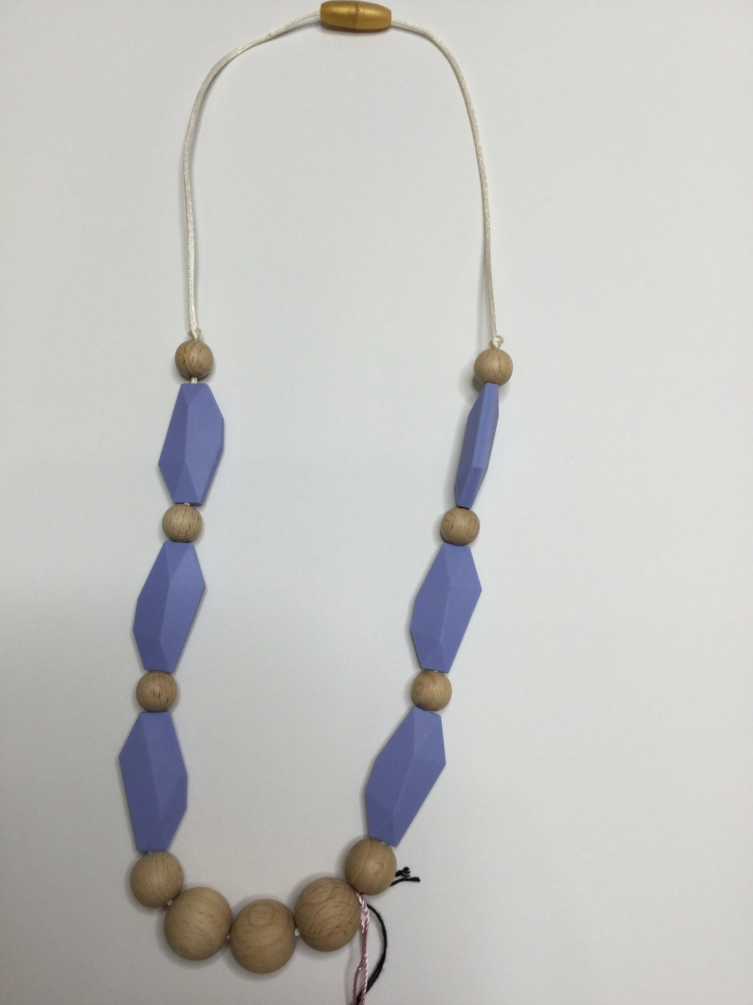 Three Hearts Long Teething Necklace - Lavendar