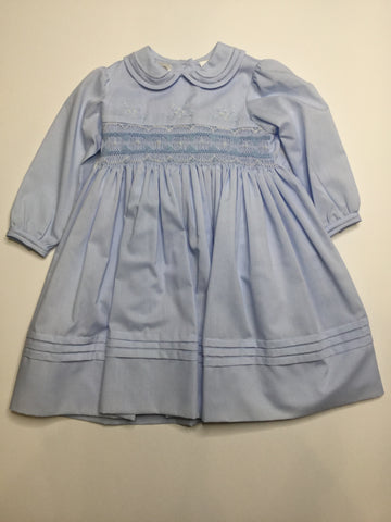 Sarah Louise Classic Blue Smocked Dress