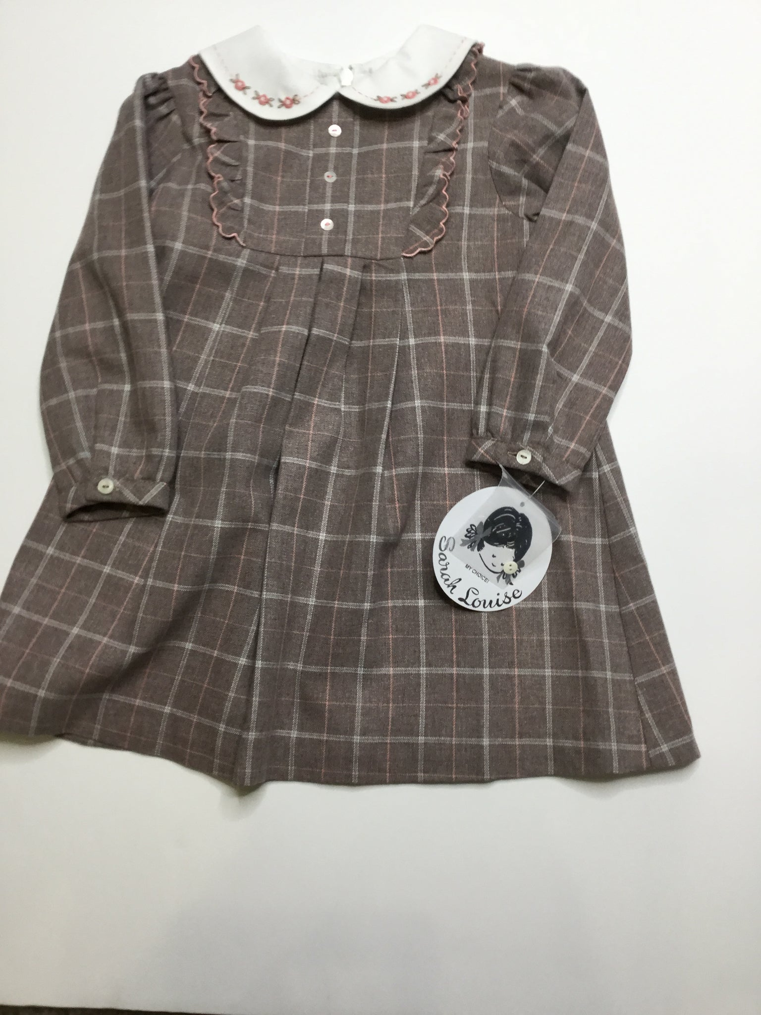 Sarah Louise Deep Grey/Pink Plaid Dress