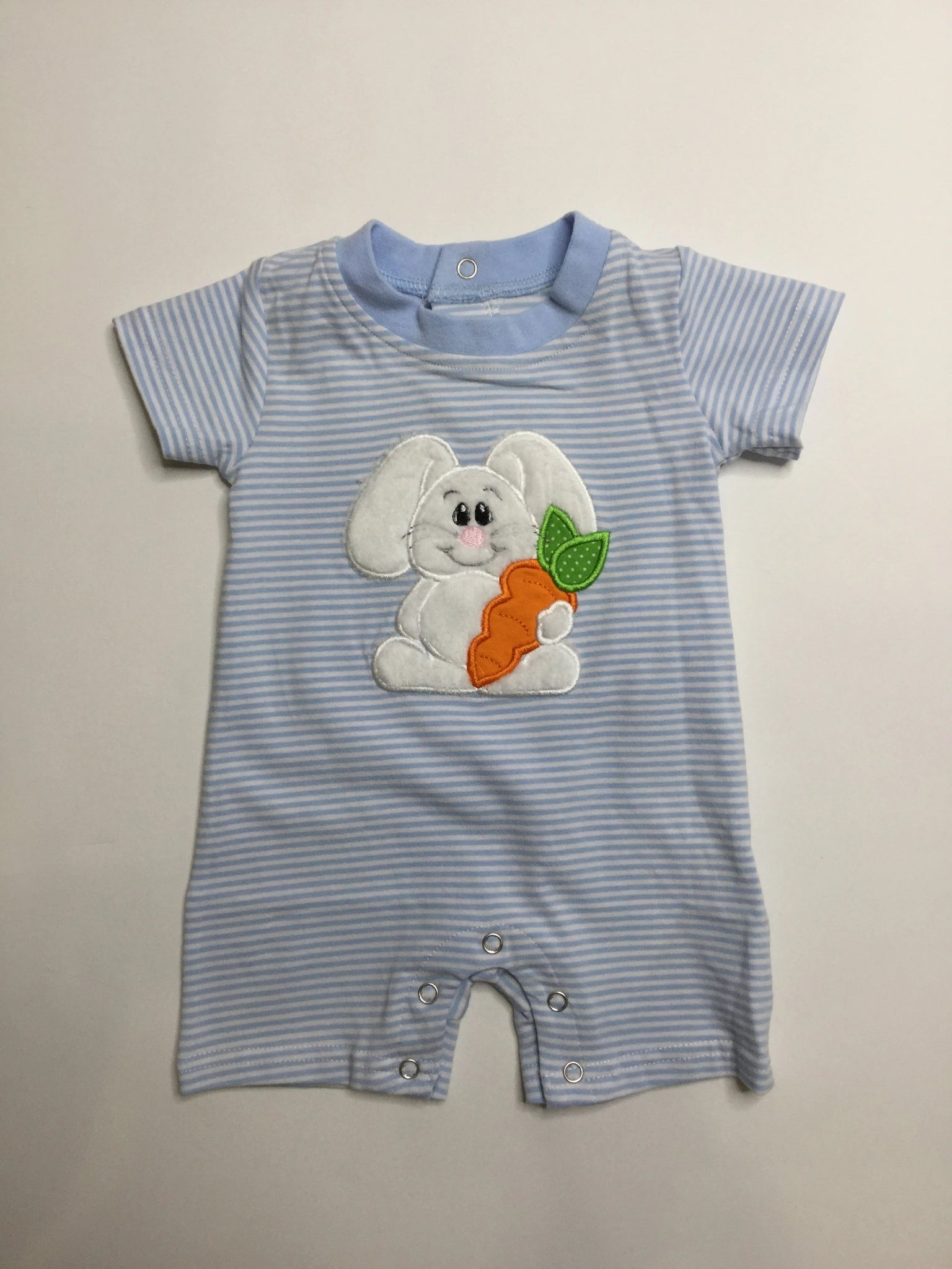 Applique Easter Bunny Blue Stripes Romper
