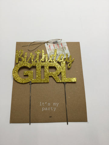 Mud Pie Birthday Girl Gold Sparkle Cake Topper