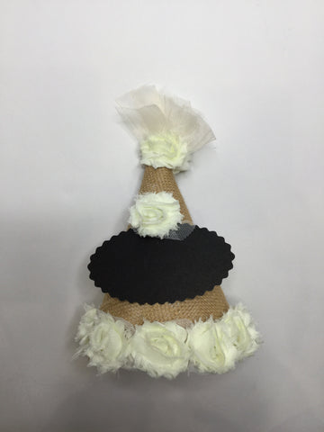 Chalkboard Birthday Hat w/Cream Flowers