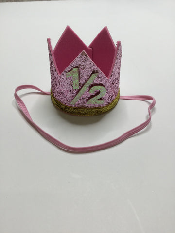 1/2 Birthday Pale Pink/Silver Crown