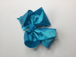 Iridescent Shimmer Hair Bow Blue