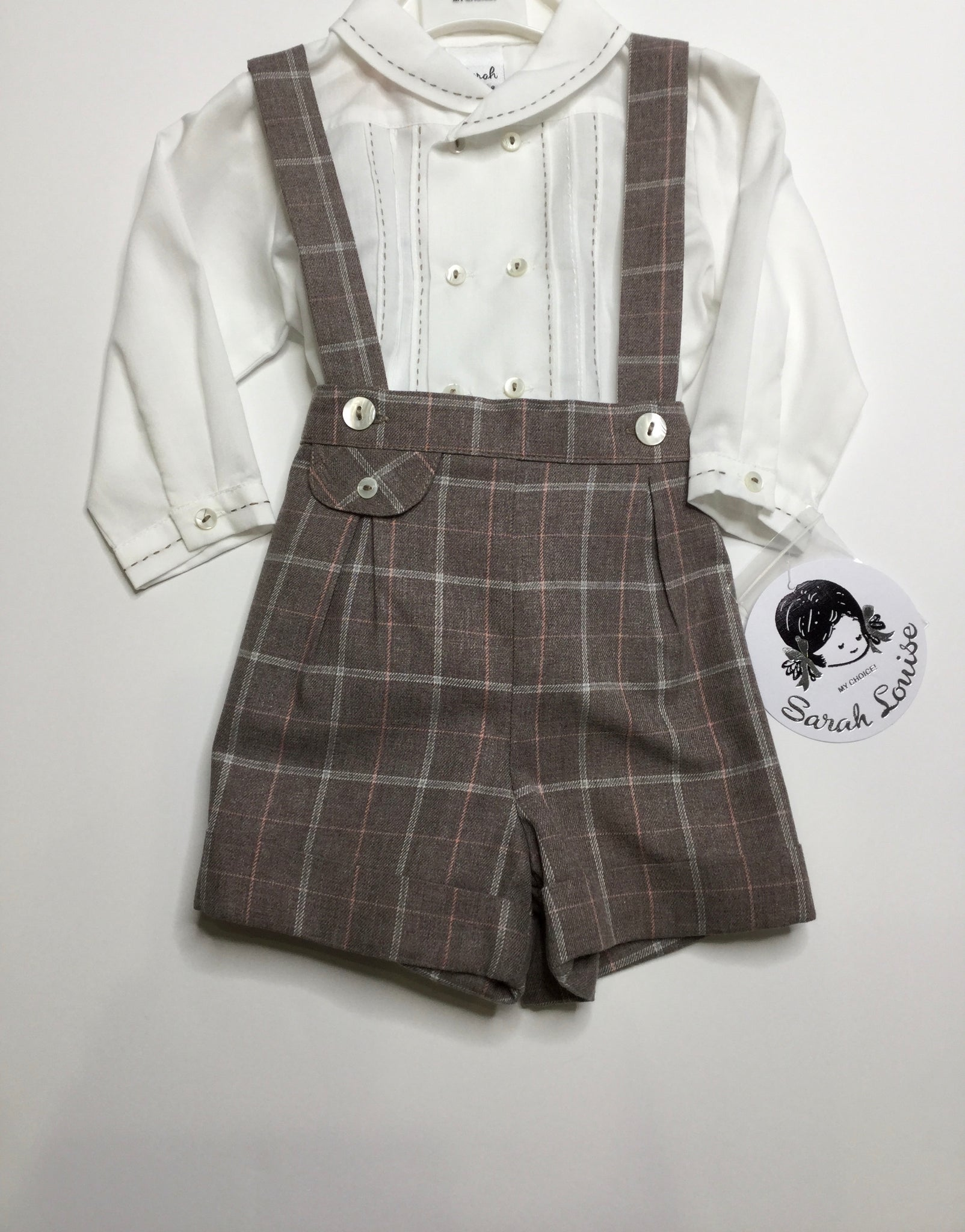 Sarah Louise Classic Suspenders Grey/Pink Boys Set