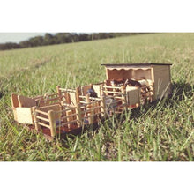 Load image into Gallery viewer, ST5 - Two Horse Stable with Yard - Handmade Wooden Toy