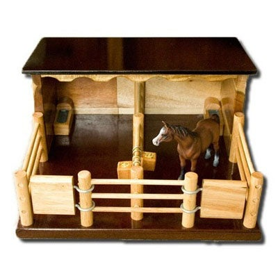 ST1 - Two Horse Stable -Handmade Wooden Toy