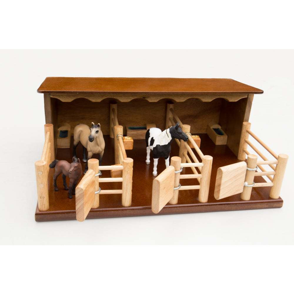 ST2 - Three Horse Stable - Handmade Wooden Toy