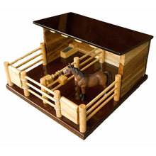 Load image into Gallery viewer, ST1 - Two Horse Stable -Handmade Wooden Toy
