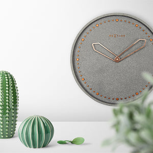 Wall Clock Grey & Rose