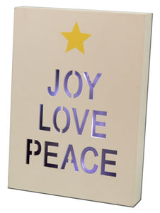 Wooden Joy-Love-Peace Light