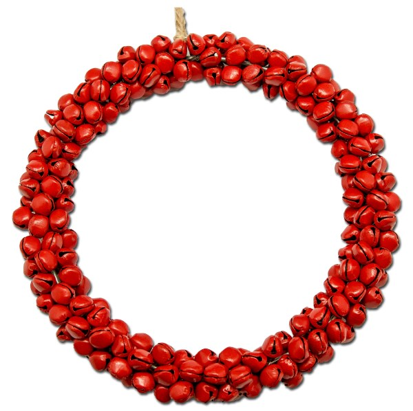 Bell Round Wreath in Red