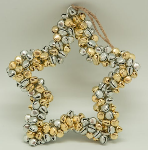 Bell Star Wreath in Silver & Gold