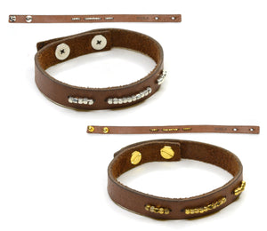 Bracelet Leather Band with Metal Beads